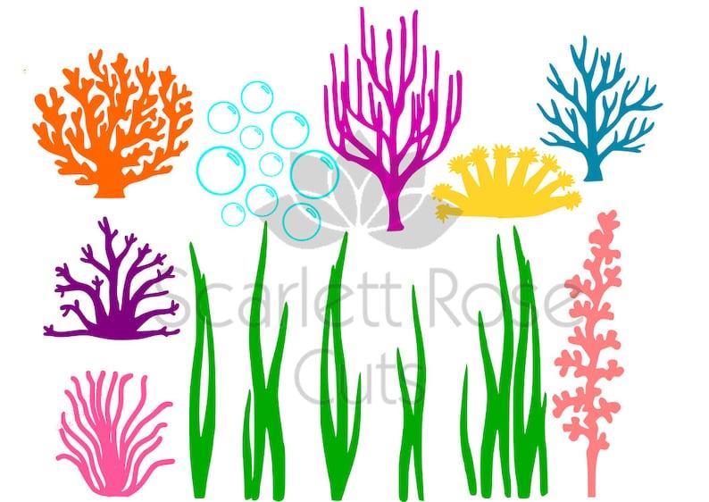 Sotto Il Mare Alghe Coralli Bolle Svg Vita Dell Oceano Etsy