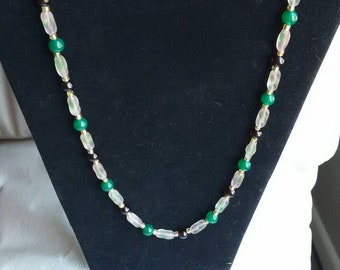 Garnet, Jade and Glass Bead Necklace
