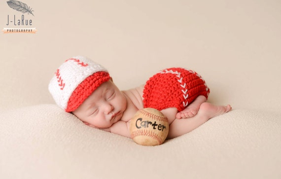 45ab148f4bed1 Crochet Baseball Cap and Diaper Cover Baby Baseball outfit