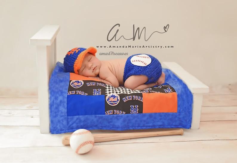 f491a22c5 Boy/Girl Crochet Baseball Cap/Diaper Cover - Yankees, New York Mets -  crochet baby shower gift -newborn baseball - Baby Baseball team