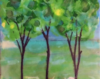 "Triple Trees, Original Encaustic Painting; Landscape Encaustic; Encaustic Art; 7"" x 7"" Painting in 9 1/2"" x 9 1/2"" Frame"