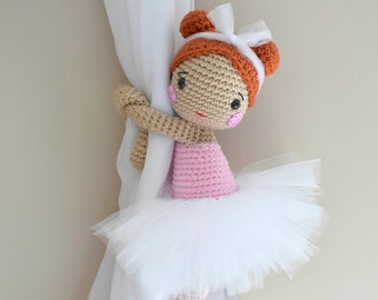 Candela_Ballerina curtain tieback crochet PATTERN, right or left tieback pattern PDF instant download - by BBadorables