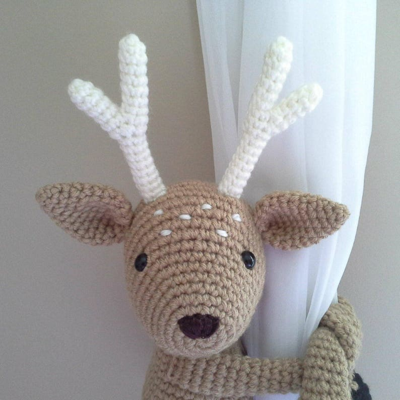 English Bambi Deer curtain tieback crochet PATTERN right or left tieback pattern PDF instant download