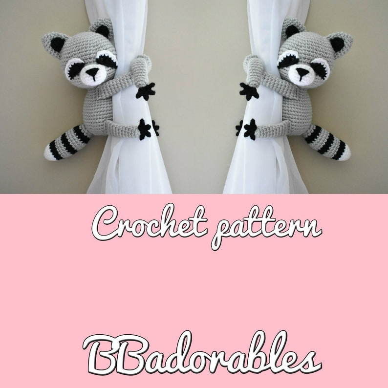 Raccoon curtain tieback crochet PATTERN, right or left Racoon tieback  pattern PDF instant download - English