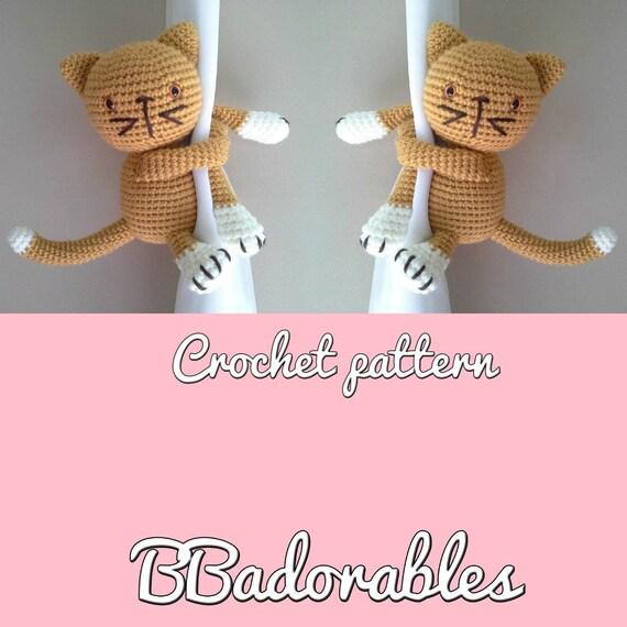 Kitty Gato/Katze Vorhang Raffhalter häkeln Muster Englisch