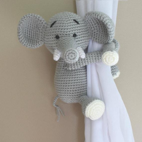 Elephant tieback Crochet Elephant Tiebacks Crochet Elephant Gift Handmade Amigurumi Elephant Crochet Grey elephant tie backs