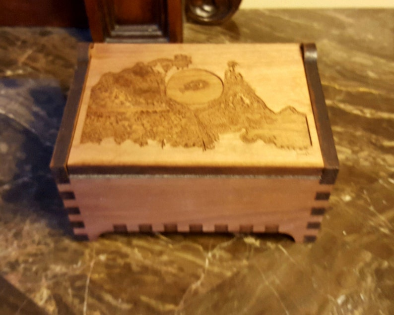 Custom Wooden Jewelry Box Art Nouveau Laser Cut And Engraved