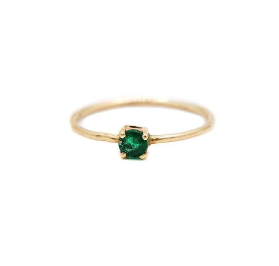 Engagement Ring 0.25CT Genuine Square Emerald Gemstone 9K Solid Yellow Gold Wedding Ring Yellow Gold Ring For Her Emerald Gemstone Ring
