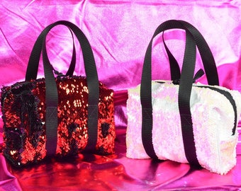 f71956aa5e0d Flip mermaid reversible sequin mini small purse bag tote duffle two-toned