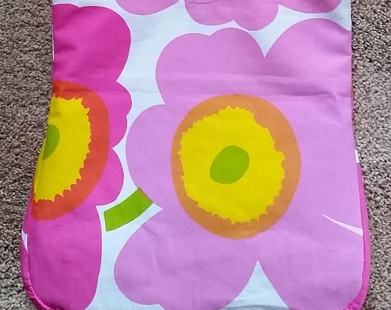 Tote Bag – Marimekko Fabric – Pink Unikko Design – Travel Tote Bag – Travel Shoulder or Cross-Body Bag – Fabric Tote - Ladies Gift