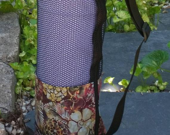 Easy-Go Yoga Mat Bag - Yoga Mat Carrier - Multipurpose Bag - Batik Fabric - Burgundy Floral Bag - Mesh Bag
