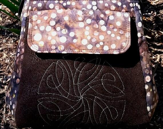 Celtic Tuck Bag - Celtric Design-Brown Handbag-Shoulder Bag-Handcarry Purse-Fabric Purse-Womens Purse-Ladies Gift