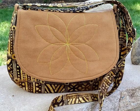 Flower Petal Shoulder Bag - Batik Fabric - Shoulder Bag - Faux Suede Purse - Batik Purse - Brown Bag - Women's Purse - Crossbody Purse