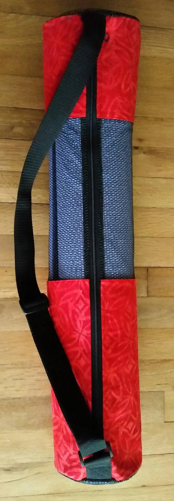 Easy-Go Yoga Mat Bag – Yoga Mat Carrier – Multipurpose Bag – Batik Fabric – Red Bag - Mesh Bag