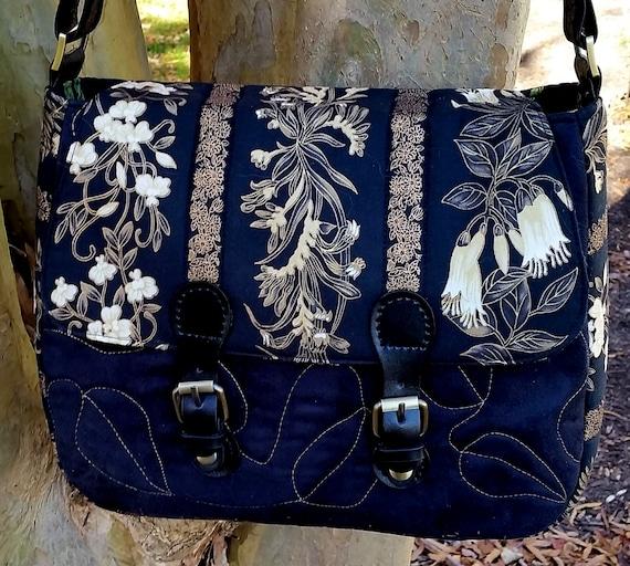 Shoulder Bag - Saddle Bag - Faux Suede Purse - Black & Gold Purse - Women's Purse - Cross Body Purse - Ladies Gift
