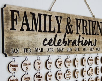 Family Birthday Board, Birthday Calendar, Birthday Sign, Family Calendar, Family Celebrations, Birthday Reminder, Family Tree
