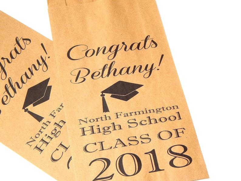 High School Custom Favor Bags 2018 Congrats Graduation Party Personalized Candy Buffet Bags Set of 5-100 pcs