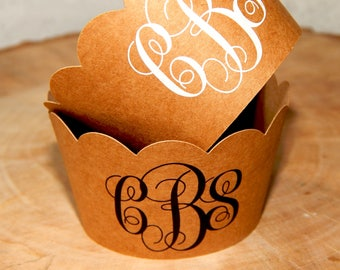 Set of 5-50 pcs. Kraft Paper With Custom Floral Monogram Cupcake Wrappers, Wedding Party Cupcake Decorations, Monogrammed Bridal Shower