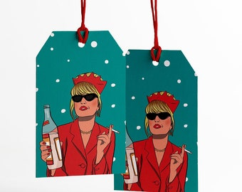 AbFab Christmas Gift Tags - Funny Christmas gift tags set - Patsy Card - Funny Christmas Gift Wrap - Christmas Tags Mum Aunt - pop culture