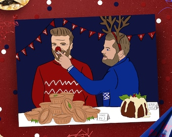 Corden and Beckham Christmas Card, Bromance Xmas card, Pop culture card