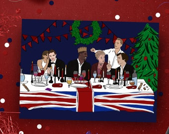 British Celebrity Christmas Card, Dinner Party Xmas card, Pop culture card