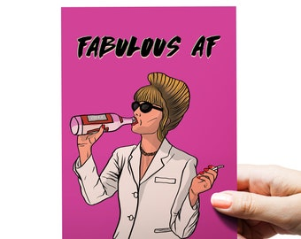 Funny Birthday Card | Absolutely Fabulous | AbFab | Fabulous AF Greeting Card | Birthday Card Mum | Sister Birthday Card | Mothers Day Card