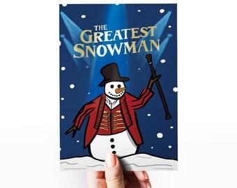 The Greatest Snowman - Funny Christmas Card - Movie Card - Punny Christmas Card - Romantic Christmas Card - Illustrated xmas card