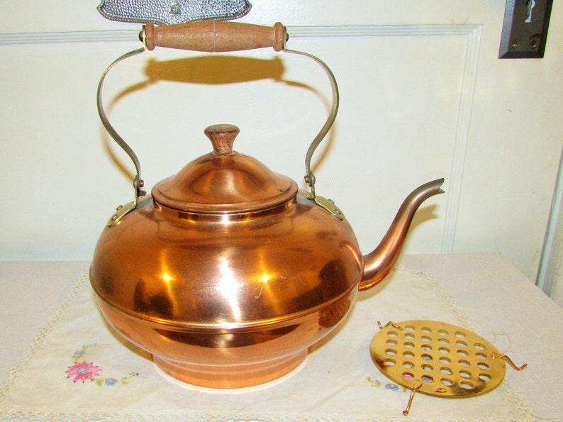 Decorative Copper Tea Kettle 3 Pcs Made In Portugal Etsy