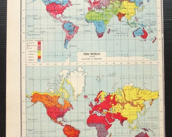 Map Of The World 1920.World Map 1920 Etsy