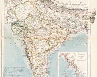 INDIA Bengal Bhutan Sikkim Assam Antique Map 1894 by Bartholomew
