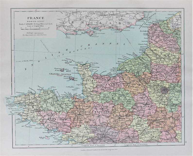Map Of North West France.North West France Antique 1920 Colour Map By Edward Stanford Etsy