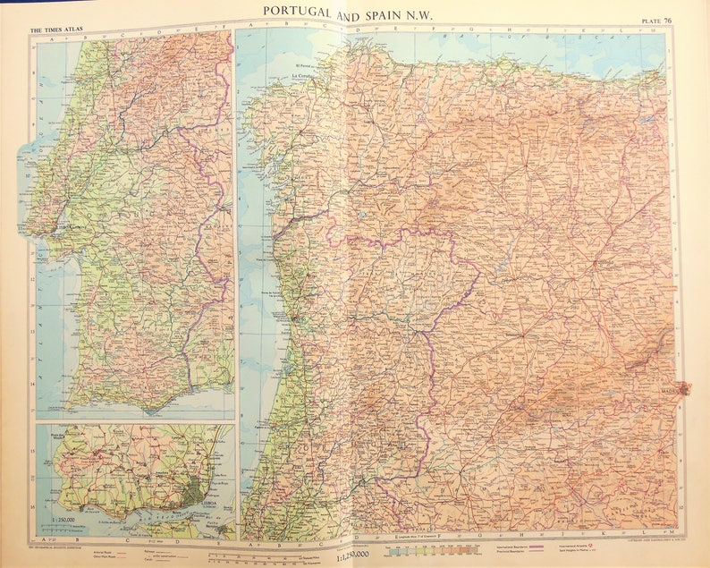 Map Of North West Spain.Vintage Map North West Spain Portugal 1950s Cold War Era Lovely Pastel Colours 76