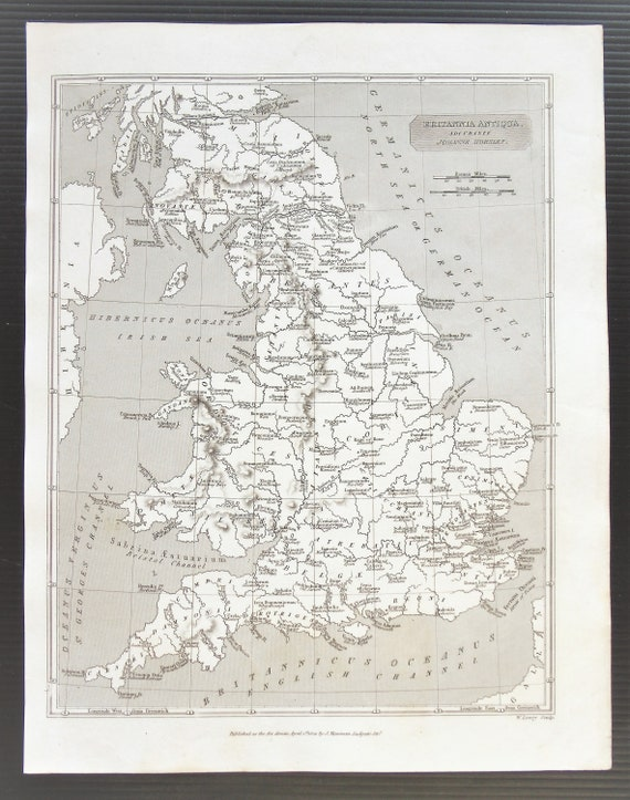 1824 Antique Map Of Ancient Britain Celtic Tribes England Etsy