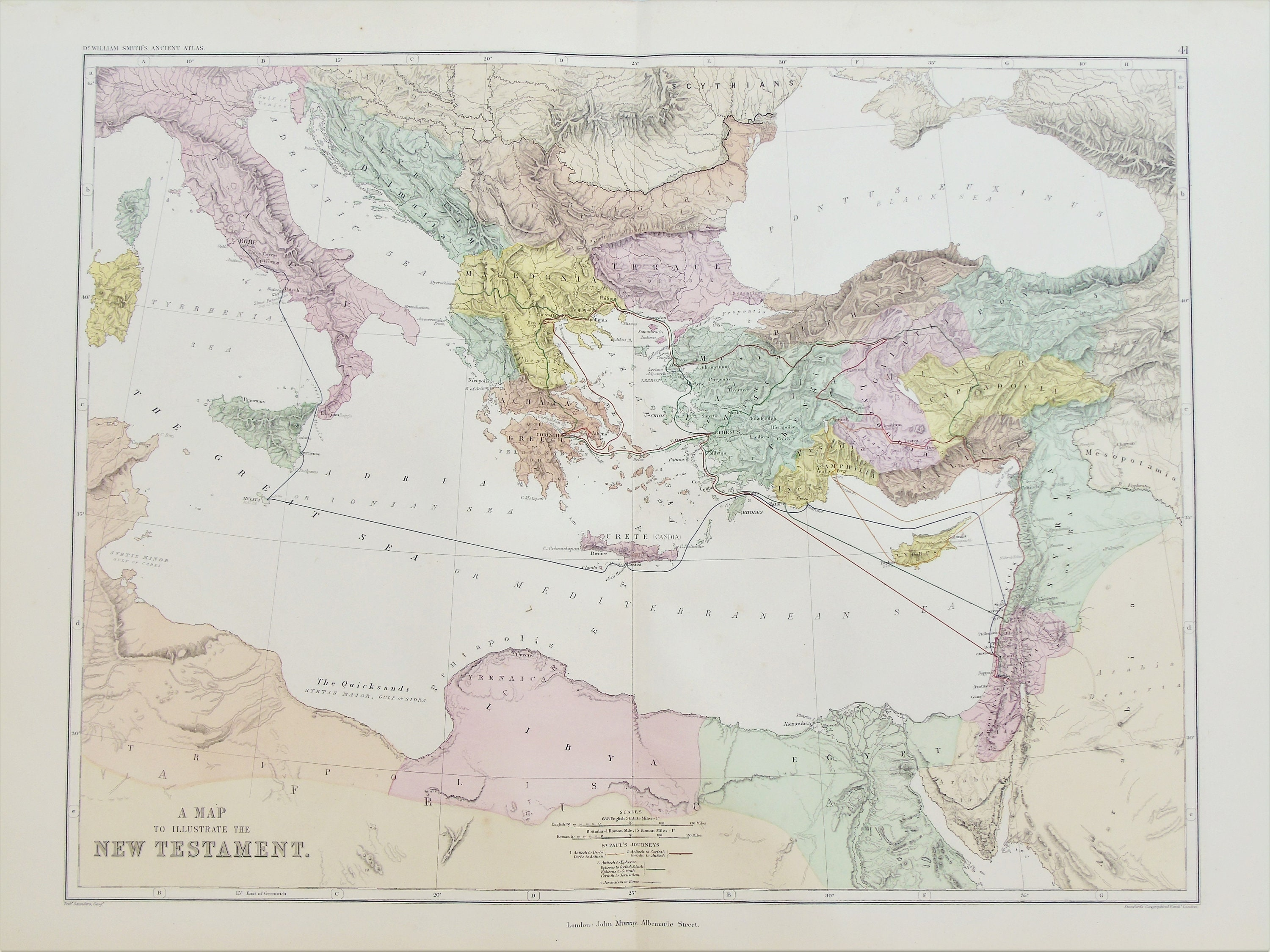 South East Europe, Middle East According to New Testament, c.1872 Antique  Map, Very Large Hand Coloured Map by Weller & Murray