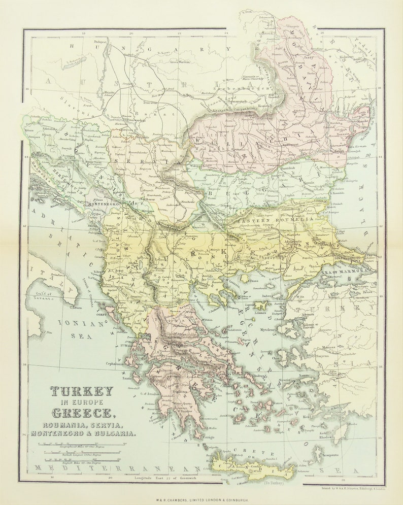 1880 Antique Map Turkey In Europe Greece Balkans Etsy