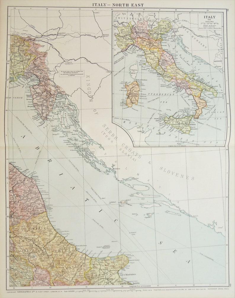 Map Of North East Italy.Huge Antique Map North East Italy C 1920 Lovely Colours