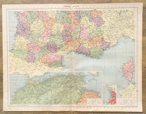 Map Of Africa 1940.1940 Vintage Wartime Map Southern France North Africa Philips Lovely Pastel Colours See Description