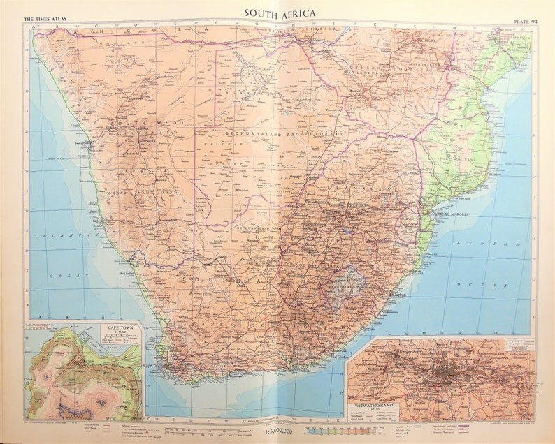 Vintage Map South Africa, Cape of Good Hope, Transvaal, Rhodesia,  Bechuanaland, 1950s Cold War Era. Lovely Pastel Colours (94)