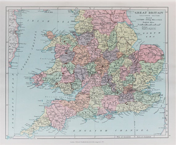 Map Of England To Colour.Wales Southern England Antique 1920 Colour Map By Edward Stanford Pastel Colours