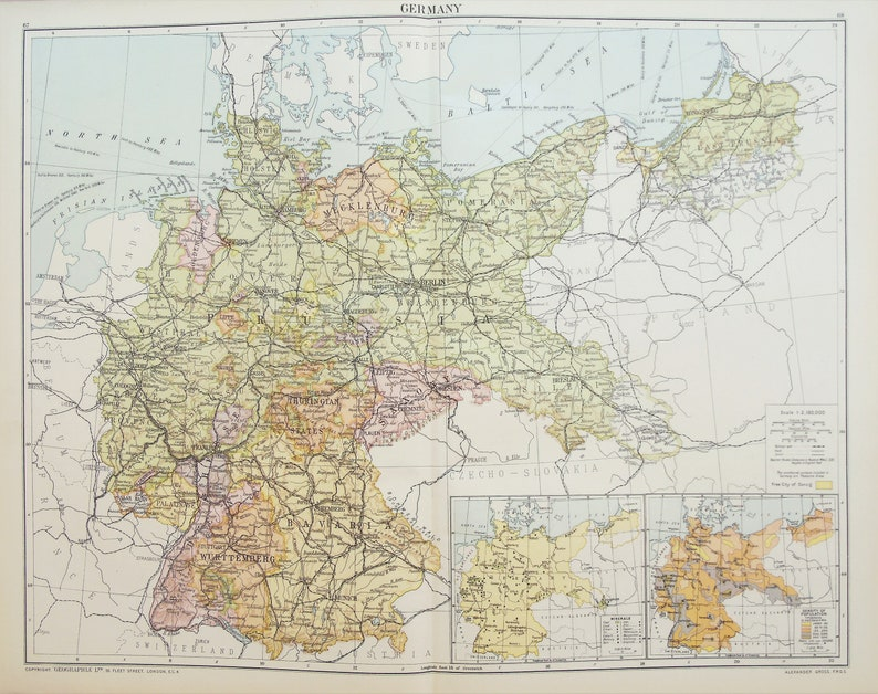 Map Of Germany Regions.Huge Antique Map Germany Regions Or States C 1920 Lovely Colours