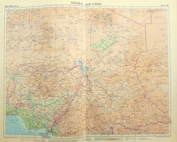 French Africa Map.Vintage Map West Africa Nigeria Chad French Africa 1950s Etsy