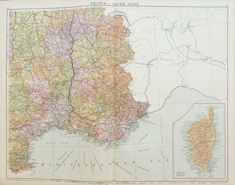 Map Of South East France.Huge Antique Map South East France Corsica Departments C 1920 Lovely Colours