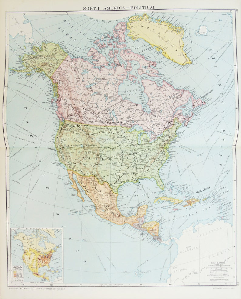 Map Of America Political.Huge Antique Map North America Political Map Continent Countries C 1920 Lovely Colours