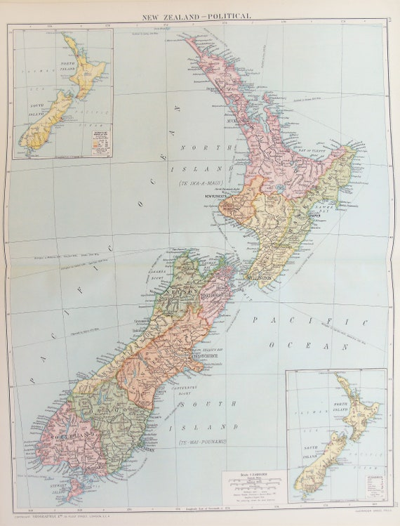 Political Map Of New Zealand.Huge Antique Map New Zealand Political Map C 1920 Lovely Colours Superb