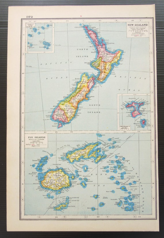 C 1920 Antique Map Of New Zealand Fiji Islands Published By Harmsworth Wall Hanging Home Decor