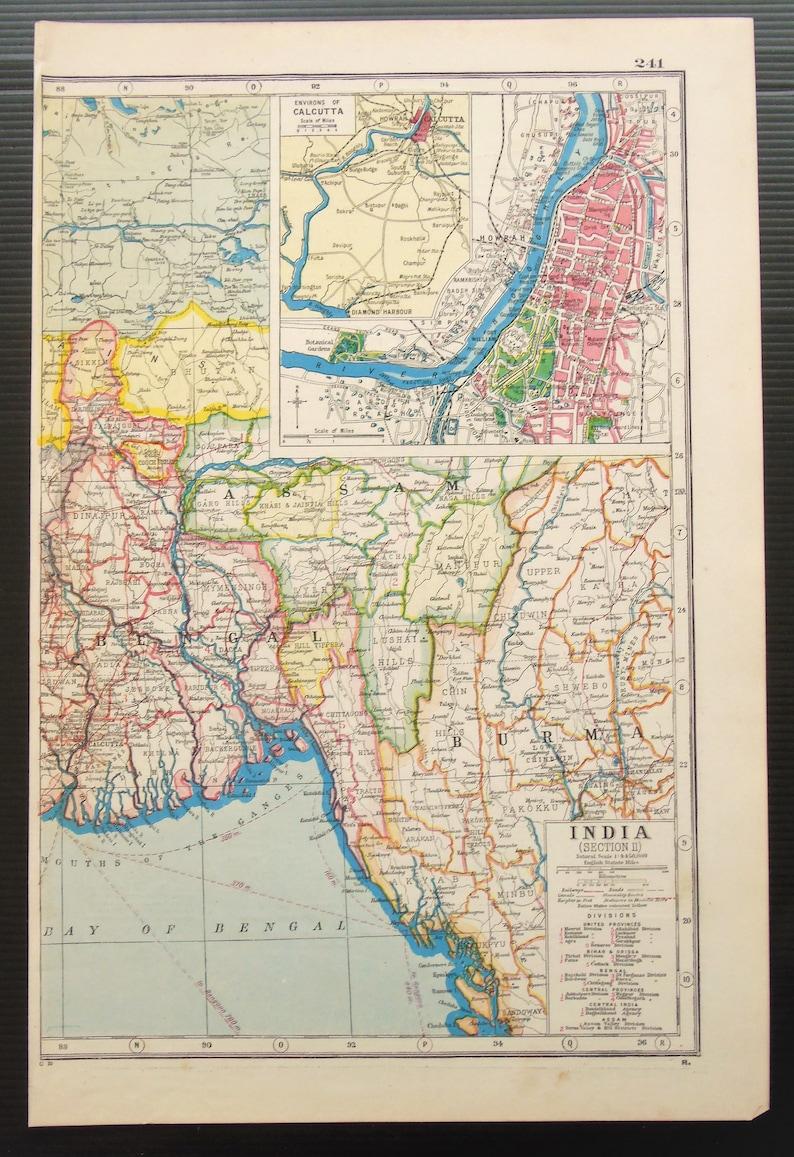 Map Of Upper Asia.C 1920 Antique Map Of North East India Burma Calcutta Asia Etsy