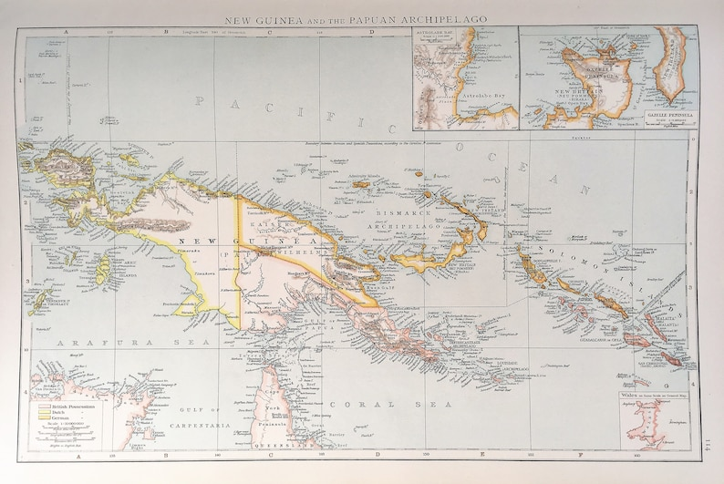 Antique Map of Papua New Guinea, Solomon Islands, Times, c  1890  Lovely  Colours