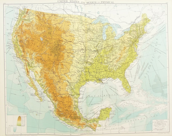 Huge Antique Map : United States of America, USA, Mexico Physical Map c.  1920. Lovely Colours