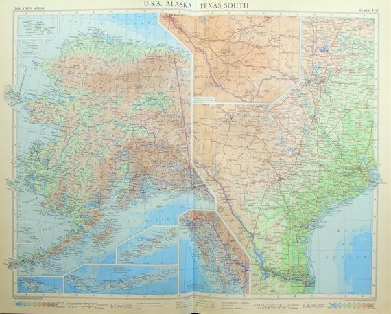 Map Of Usa Texas.Vintage Map Of Usa Texas Alaska 1950s Cold War Era Lovely Pastel Colours 112