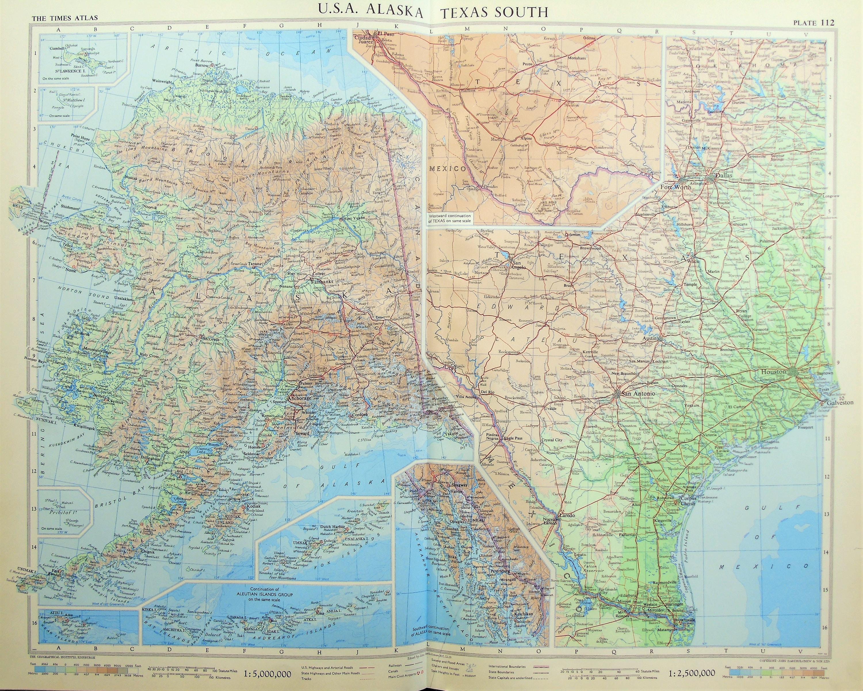 Vintage Map of USA Texas Alaska 1950s Cold War Era. ly | Etsy on